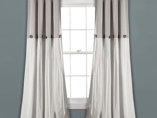95 x40  linen Button light Filtering Window Curtain Panel Gray White   lush DAccor