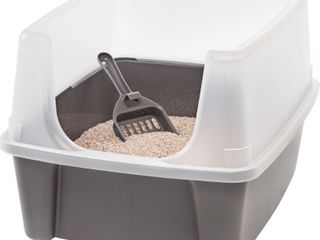 IRIS USA  Open Top Cat litter Box with Shield and Scoop  Dark Gray  Retail   25 99