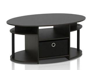 Furinno JAYA Simple Design Oval Coffee Table with Bin  Walnut