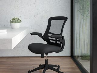 Flash Furniture Mid Back Black Mesh Swivel Task Office Chair with Mesh Padded Seat and Flip Up Arms