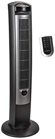 lasko Portable Electric 42  Oscillating Tower Fan with Nighttime Setting  Timer and Remote Control for Indoor  Bedroom and Home Office Use  Silver T42951