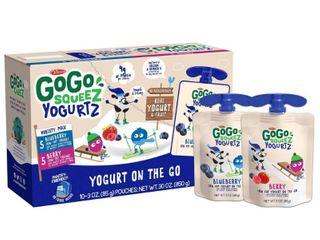 GoGo squeeZ Kids  YogurtZ  Variety Blueberry Berry   3oz 10ct