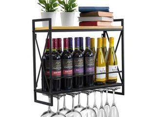 Sorbus Industrial Wine Rack Wall Mounted With 5 Stem Glass Holder Black