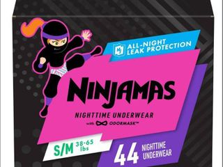 Pampers Ninjamas Nighttime Girls  Underwear Size S M   44ct