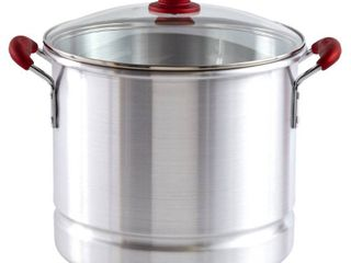 IMUSA 32qt Aluminum Tamale Seafood Steamer with Ruby Red Handles   Glass lid