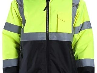 FONIRRA Hi Viz Safety Jacket for Men with Reflective liner Waterproof 100  Polyester ANSI Class 3 Full Zipper Bomber Work Jacket Hoodie Yellow l