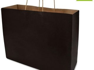 16x6x12x6    Black Kraft Paper Bags with Reinforced Patch Paper Twist Handles for Birthday Parties  Restaurant Take Outs  Shopping  Merchandise  Party  Retail  Gift Bags  100