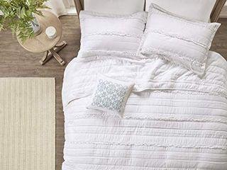 Madison Park Quilt Modern Classic Design All Season  Breathable Coverlet Bedspread lightweight Bedding Set  Matching Shams  Decorative Pillow  King Cal King 104 x94  Celeste  Ruffle White  4 Piece Retail  89 99