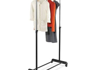 Adjustable Garment Rack with Extendable Bar  Black Chrome
