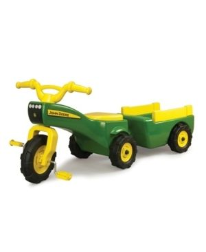 John Deere Pedal Tractor And Wagon  Kids Ride On Tractor Tricycle  Green   Yellow