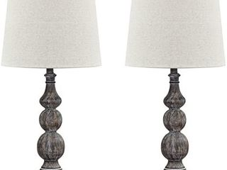 Signature Design by Ashley Mair Rustic Farmhouse Poly Table lamp Set of 2  Gray