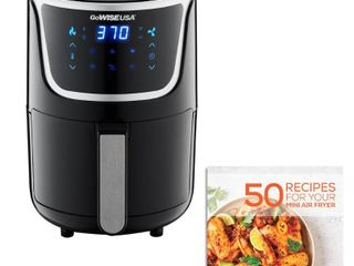 GoWISE USA 1  7  qt  2 0 qt  Max Black Silver Electric Mini Air Fryer with Digital Touchscreen   Recipe Book