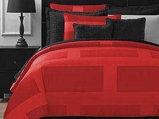 Comfy Bedding Frame Jacquard Microfiber Queen 5 piece Comforter Set  Red