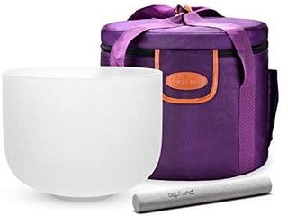 TOPFUND D Note Crystal Singing Bowl Sacral Chakra 10 inch with Heavy Duty Singing Bowl Crystal Carrying Case and Singing Bowl Suede Striker