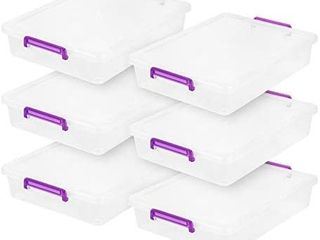 IRIS USA MlB 360 large Modular latching Box Purple Handle  6 Pack  Clear Violet