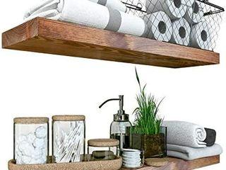 Baobab Workshop Rustic Wood Floating Shelves 24 inch   Wide Wooden Wall Shelves for living Room Bedroom Kitchen Bathroom and More 23 7  6 7  1 2