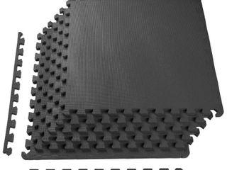BalanceFrom Puzzle Exercise Mat with High Quality EVA Foam Interlocking Tiles  Black