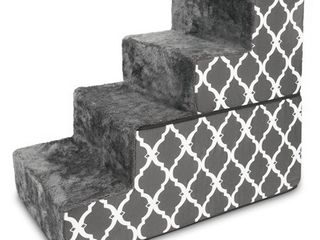 Best Pet Supplies   Dark Grey with lattice Print Foldable Pet Foam Stairs Steps for Dogs and Cats  4 Step