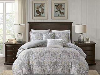 Harbor House Cozy 100  Cotton Comforter Set Classic Modern Design All Season Down Alternative Casual Bedding  Matching Shams  Cal King 110 x96  Hallie  Damask Grey