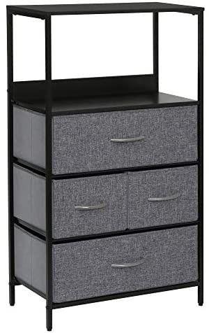 Kamiler Rustic 4 Drawers Dresser with Shelves  Closet Storage Organizer Versatile Cabinet for Bedroom  living Room  Hallway  Hotel Sturdy Steel Frame  Wood Shelf Removable Fabric Bins