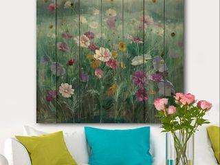 Designart  Flower field  Floral Farmhouse Print on Natural Pine Wood   Blue  Retail 116 99