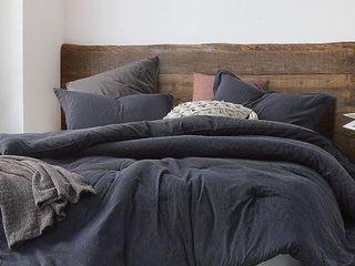 Pinstripe Navy Oversized Comforter   100  Yarn Dyed Cotton  Retail 145 99