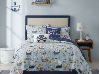 Twin Pirate Ship Cotton Reversible Coverlet Set Blue