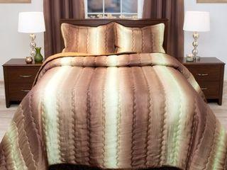 Windsor Home Striped Chocolate  Taupe Metallic Bedspread Set