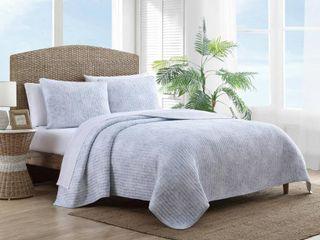 Tommy Bahama Makena Cotton Blue Quilt Set  Retail 118 49