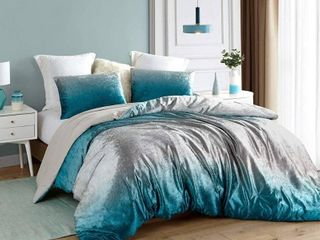 Coma Inducer Oversized Oversized Comforter   Ombre Velvet Crush   Ocean Depths Teal Silver Gray  Retail 134 99