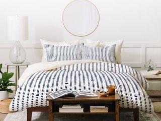 Deny Designs Blue Japandi Dots Duvet Cover Set  3 Piece Set  Retail 214 49