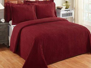 Better Trends Julian Collection in Solid Stripes Design 100  Cotton Tufted Chenille  Queen Bedspread  Burgundy