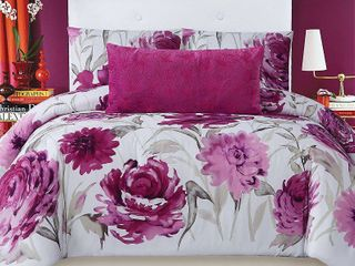 Christian Siriano Full Queen 3pc Remy Floral Comforter Set Magenta White