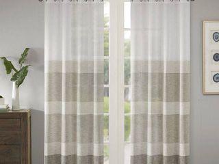 95 x50  Jacey Woven Striped Sheer Window Panel Beige