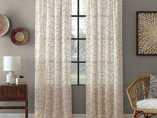 Jigsaw Embroidery 50  x 95  linen Blend Curtain Panel