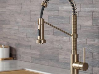 KRAUS Bolden Single Handle Pull Down Sprayer Kitchen Faucet with Dual Function Sprayhead in Spot Free Antique Champagne Bronze