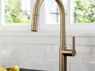 KRAUS Oletto Single Handle Pull Down Sprayer Kitchen Faucet in Spot Free Antique Champagne Bronze