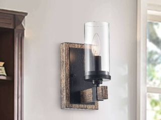 Alfreda 1 light Antique Black Iron Wood Wall Sconce with Clear Glass