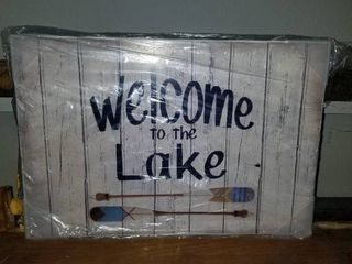 Stupell Industries Welcome to lake Greeting Boat Oars lakehouse Blue Greeting Wood Wall Art