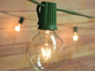 25 Socket Outdoor Patio String light Set  G40 Clear Globe Bulbs   Medium
