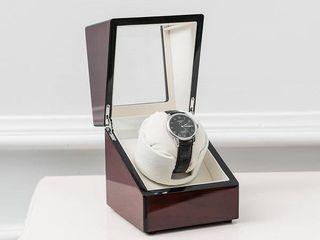 Single Watch Winder Automatic Rotation Wood Display Case Watch Box Storage Organizer