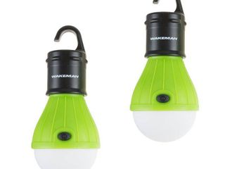 Portable lED Tent light Bulb  2 Pack Hanging lights with 3 Settings   60 lumen By Wakeman Outdoors