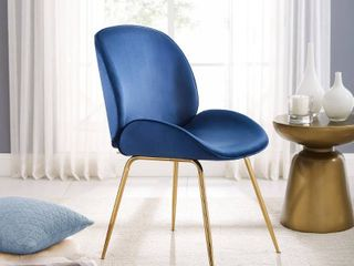 Blue Velvet and Metal Dining Chair