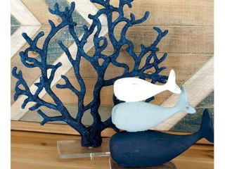 Decmode Coastal Polystone Blue Branched Coral Sculpture Beach Decor  Blue