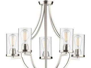 lassiter Collection Five light Brushed Nickel Chandelier   28 000  x 18 500  x 14 000  Retail 297 00