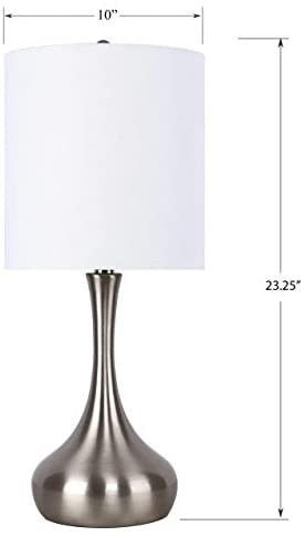 23  Brushed Nickel Table lamps w  Vase Design   White linen Drum Shade