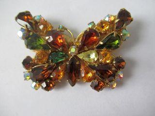 Vintage Rhinestone Butterfly Brooch