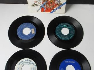 4 Vintage Hockey Records 45 rpm 7IJ
