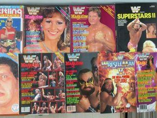 lot of 9 WWF Wrestling Magazines   Programme 1986