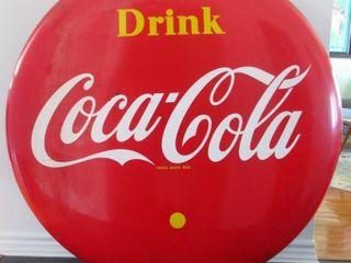 1955 Canadian Porcelain Coca Cola Button Sign